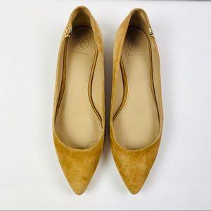 Tory Burch | Tan Suede Elizabeth Pointed Toe Flats